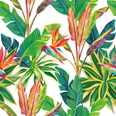 Sunny cheerful day on the tropical jungle. Birds of paradise and leaves vector seamless pattern composition. White background Vectores