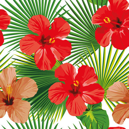 Exotic tropic flower hibiscus, green leaves on the white background. Beach vector seamless pattern wallpaper
