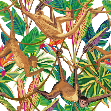 Tropical animals Monkey in the jungle seamless pattern on the white background. Beach vector wallpaper Vettoriali