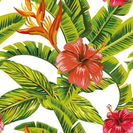 Seamless vector pattern tropical leaves and exotic flowers hibiscus. Beach bikini wallpaper print Stock Illustratie