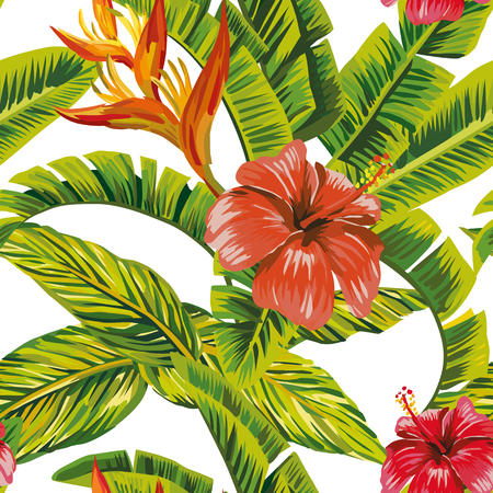 Seamless vector pattern tropical leaves and exotic flowers hibiscus. Beach bikini wallpaper print Illustration