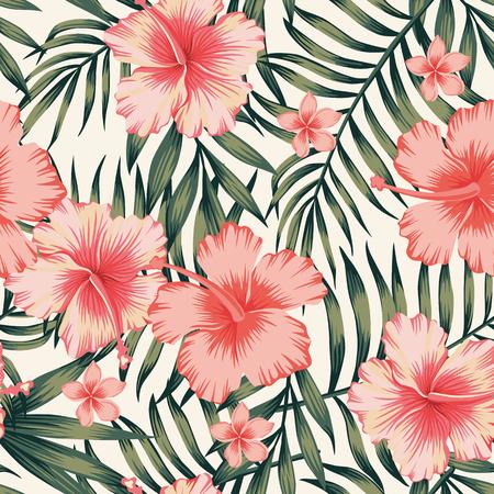열대 꽃 야자 잎 원활한 패턴 스톡 콘텐츠 - 91346039