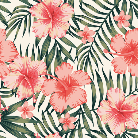 Tropical flower with palm leaves seamless pattern