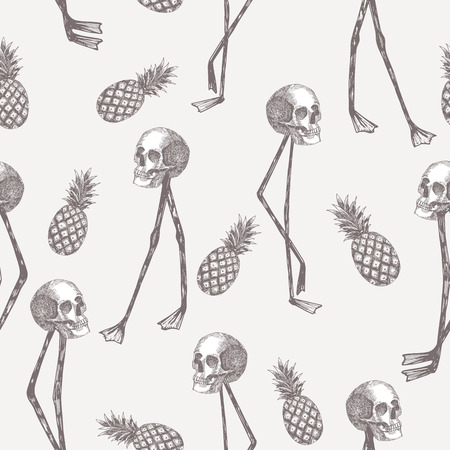 Abstract cartoon skull on flamingo legs with pineapple seamless pattern Çizim