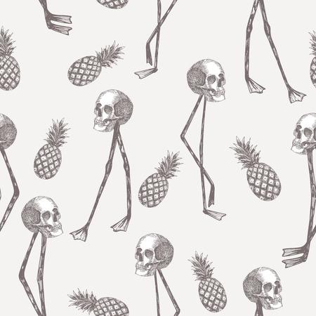 Abstract cartoon skull on flamingo legs with pineapple seamless pattern Illustration