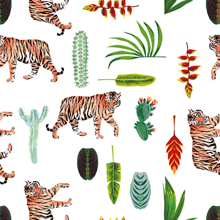 Tiger with tropical leaves and flowers seamless vector pattern Illustration