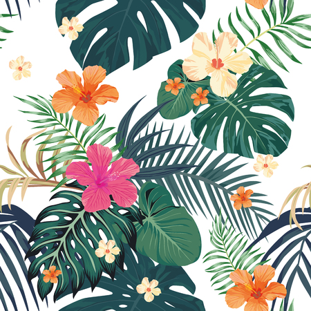 Exotic tropical leaves monstera palm and flowers hibiscus pattern vector seamless white background. Nature fresh beach wallpaper