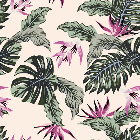 Exotic flowers leaves pattern. Иллюстрация
