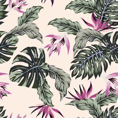 Exotic flowers leaves pattern. Vettoriali
