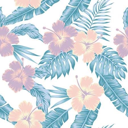 Exotic flowers hibiscus abstract cold color tropical vector leaves seamless white pattern background Illustration