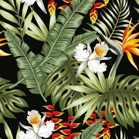 エキゾチックな花はパターンを残します。  イラスト・ベクター素材