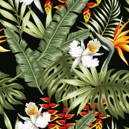 Exotic flowers leaves pattern. Vettoriali