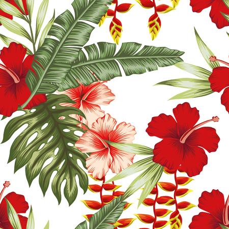 Exotic flowers leaves pattern. Ilustração