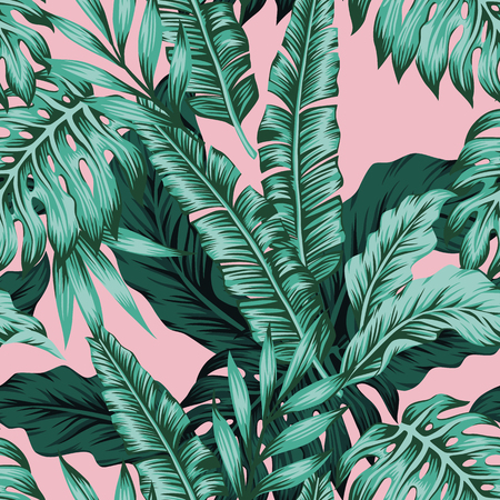 Exotic flowers leaves pattern.  イラスト・ベクター素材