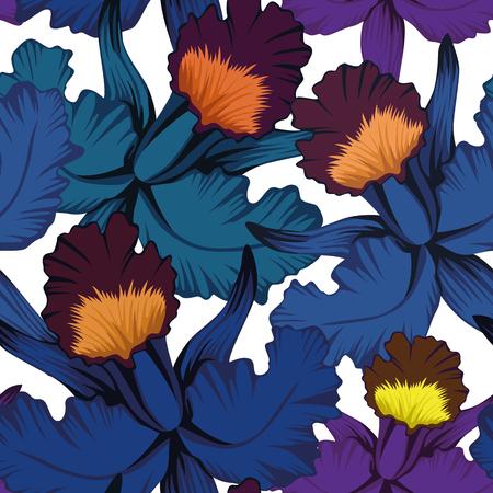 Esotico motivo a foglie blu. Archivio Fotografico - 92239780