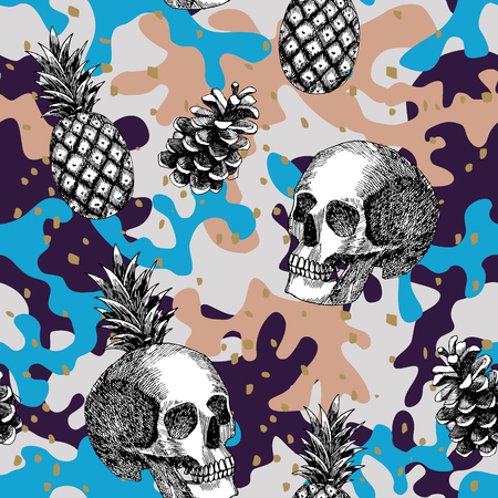 Composition of skull pineapple cone hand drawn in pencil military abstract color illustration.