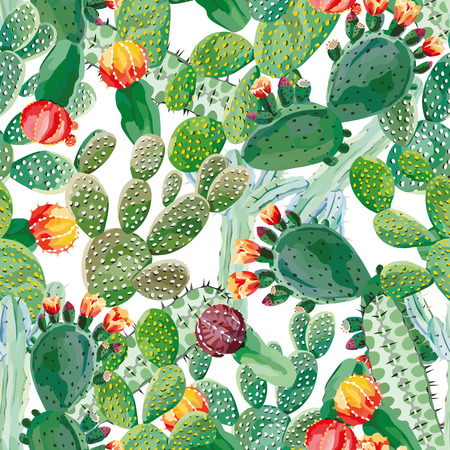 Cactus vector seamless pattern Vectores