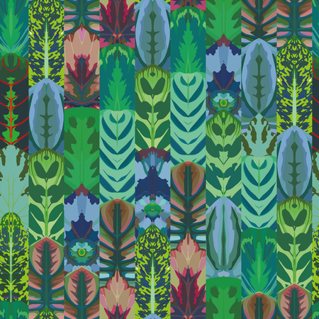 Parallel leaves seamless pattern exotic vector background