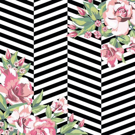 Rose flowers print pattern in black white geometric background