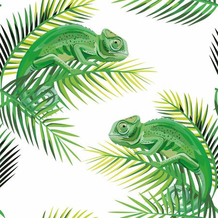 Het exotische de hagediskameleon van het samenstellings naadloze patroon op de banaan verlaat witte achtergrond Stock Illustratie