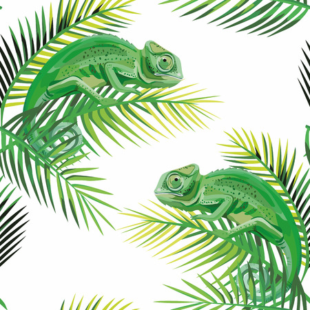Exotic composition seamless pattern lizard chameleon on the banana leaves white background Vectores