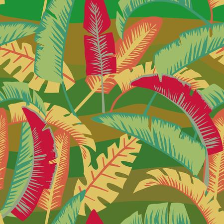 漫画スタイルバナナシームレスなエキゾチックなベクトル壁紙パターンで抽象的な色のヤシの葉