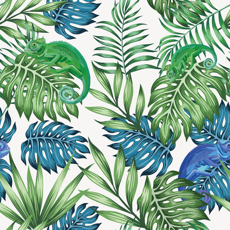 Aardkameleon exotisch blauw en groen tropisch bladeren naadloos patroon op de vector witte achtergrond