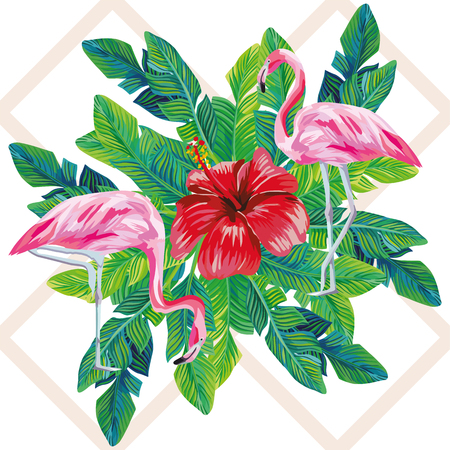 Tropical birds pink flamingo exotic flowers hibiscus nature palm leaves print on the geometric background