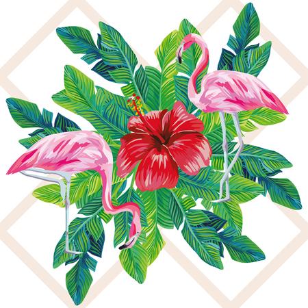 熱帯鳥ピンクのフラミンゴエキゾチックな花ハイビスカス自然ヤシの葉は幾何学的背景に印刷 写真素材 - 93341262