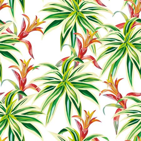 Naadloze het patroon witte achtergrond van schoonheids tropische installaties. Natuur strand vector behang Stock Illustratie