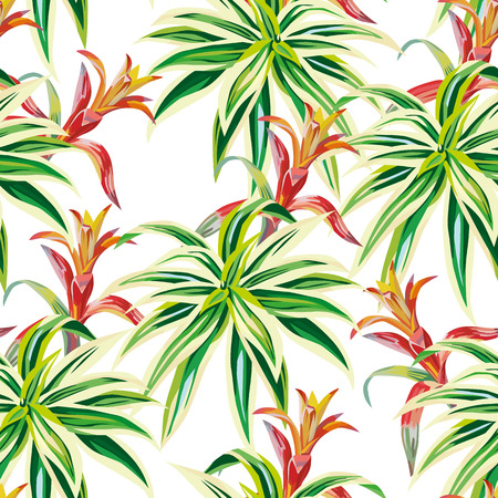 Beauty tropical plants seamless pattern white background. Nature beach vector wallpaper