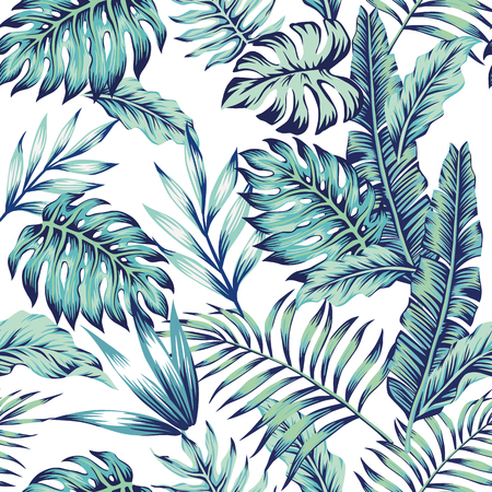 白い背景にエキゾチックな抽象的なベクトルブルージャングルシームレスパターン。トレンディなアートビーチプリント壁紙。  イラスト・ベクター素材