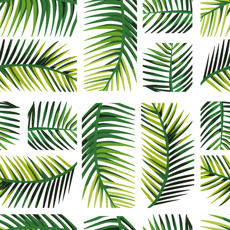 Geometric arrangement palm leaves. Exotic layout disposition green jungle Seamless vector pattern art wallpaper on the white background.