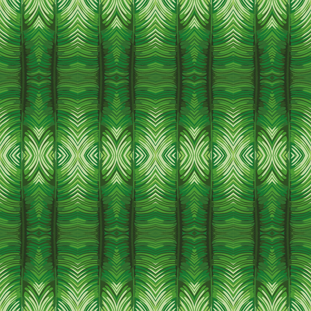 Futuristic reflection mirror green leaves background vector art seamless pattern beach wallpaper.