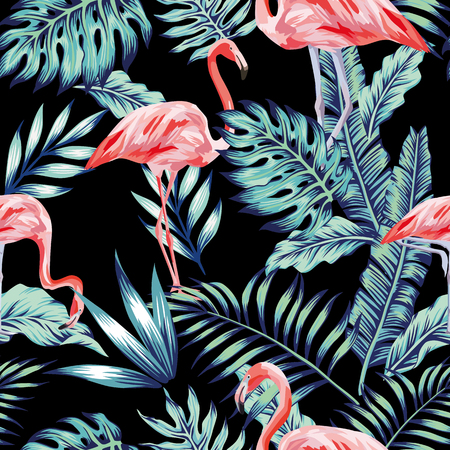 Exotic tropical bird pink flamingo in the night blue forest jungle on the black background. Vector beach art seamless wallpaper pattern.