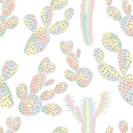 白い背景にサボテンシームレスパターンパステルカラー砂漠の壁紙  イラスト・ベクター素材