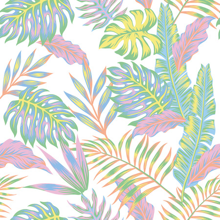 Pastel color jungle Seamless tropical exotic vector pattern on the white background Illustration