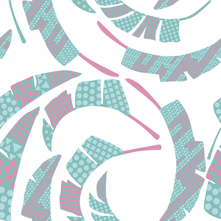 Exotic composition swirling leaves abstract color seamless on the white background. Beach vector wallpaper