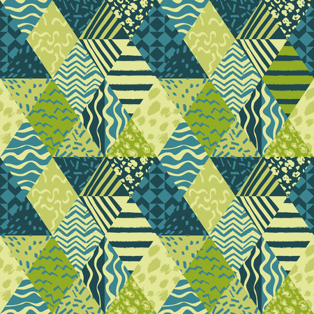 Trendy patchwork schematic abstract fabric seamless pattern trendy vector wallpaper. Vettoriali