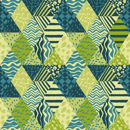 Papel de parede na moda do vetor do teste padrão sem emenda abstrato esquemático na moda da tela dos retalhos. Foto de archivo - 94992591