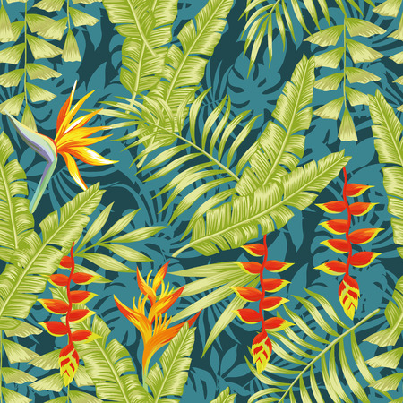Hand drawn colorful exotic composition tropical flowers bird of paradise and banana leaves seamless pattern night jungle background.