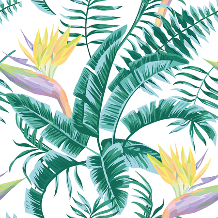 Exotic composition flowers Bird of paradise leaves in blue green color tropical beach seamless pattern