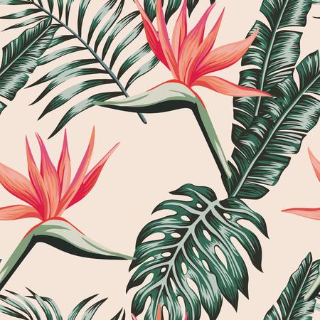 Het tropische strand bloeit paradijsvogel verlaat groen kleuren naadloos patroon. Exotische vector samenstelling platte achtergrond Vector Illustratie