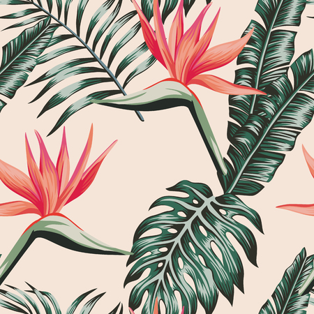 Tropical beach flowers bird of paradise leaves green color seamless pattern. Exotic vector composition flat background
