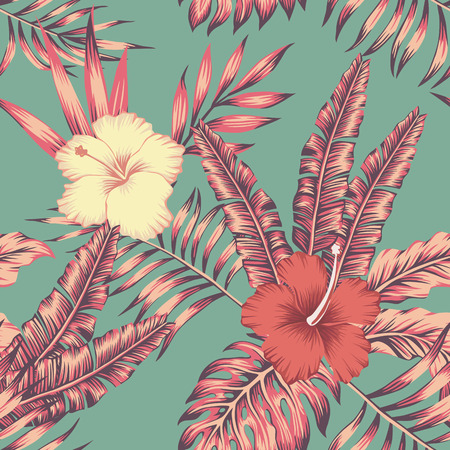 Hibiscus flowers and leaves vintage color tropical vector seamless pattern composition. Flat beach party wallpaper