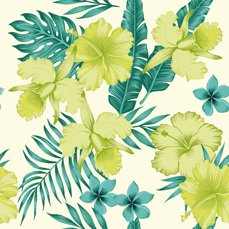 Exotic flowers hibiscus and plumeria banana leaves blue lime color tropical seamless pattern. Beach party background Vectores