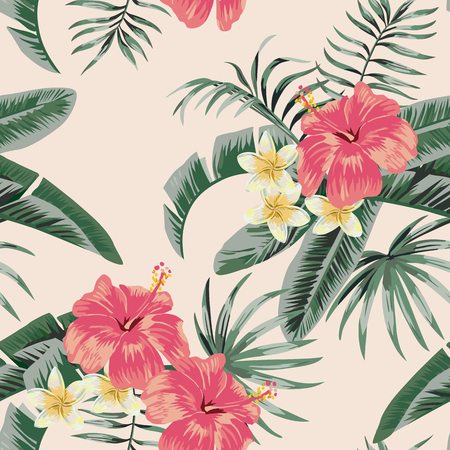 Flowers vector plumeria and hibiscus flower leaves tropical beach background seamless pattern