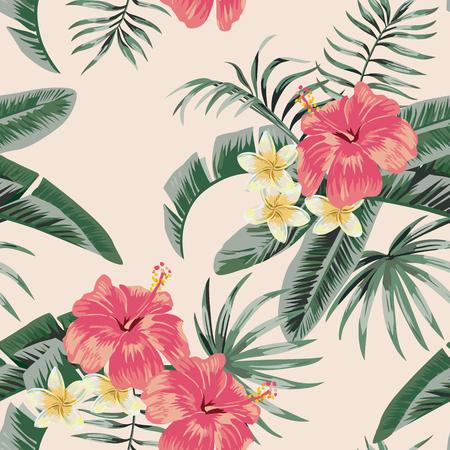 Kwiaty wektor plumeria i kwiat hibiskusa pozostawia tropikalną plażę tło wzór