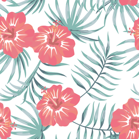 Tropical flowers hibiscus and leaves vector background seamless texture white background beach floral ornament design
