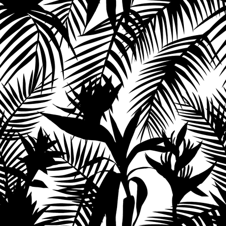 Black white silhouette vector floral pattern seamless tropical jungle. Exotic composition from leaves and flowers